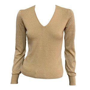 J.Crew Beige Gold Wool V Neck Sweater